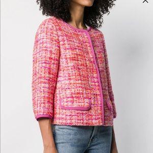 NWOT Herno short tweed pink/orange/metallic jacket